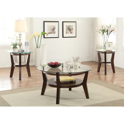 Holter Wooden 3 Piece Coffee Table Set With Round Glass Top