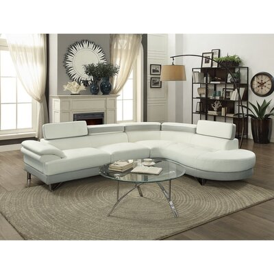 Shrader Polyurethane Adjustable Headrest 2 Piece Sectional Set Upholstery: White/Gray