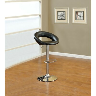 Shore Front Metal Base Adjustable Height Bar Stool Color: Black