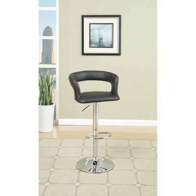 Shores Gas Lift Metal Base Adjustable Height Bar Stool Color: Black