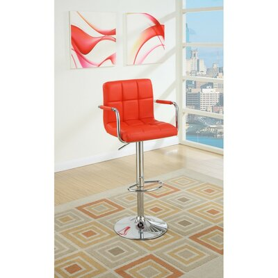 Shortridge Gas Lift Adjustable Height Bar Stool Color: Red