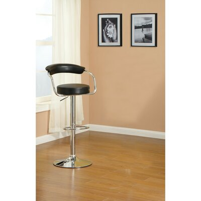 Short Gas Lift And Round Seat Adjustable Height Bar Stool Color: Black
