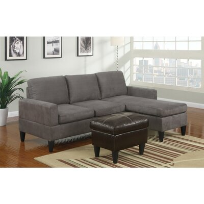 Coronado All-in-One Sectional with Ottoman Upholstery: Gray/Brown, Orientation: Right Hand Facing