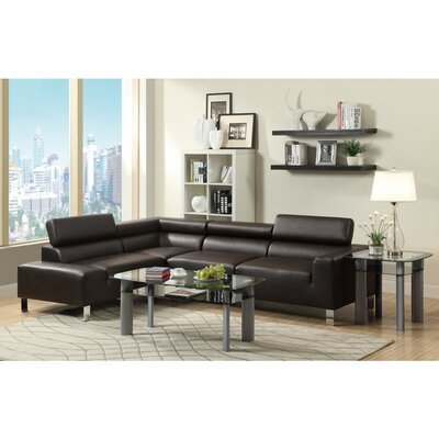 Lunsford Bonded Sectional Upholstery: Espresso Brown