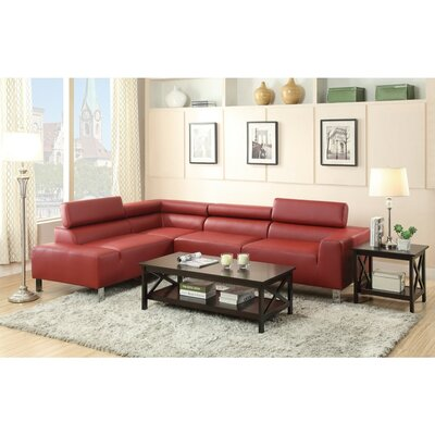 Lunsford Bonded Sectional Upholstery: Red