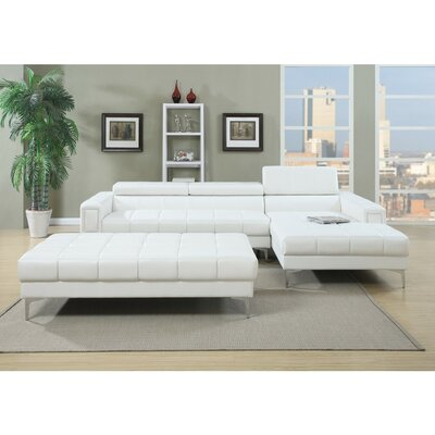 Luong Bonded Sectional Upholstery: White