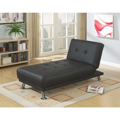 Cass Chromed Leg Adjustable Chaise Lounge Upholstery: Black