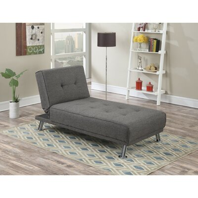 Cass Chromed Leg Adjustable Chaise Lounge Upholstery: Gray