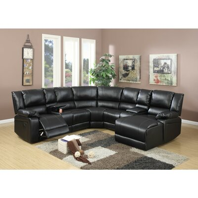 Chaim Bonded Reclining Sectional Upholstery: Black