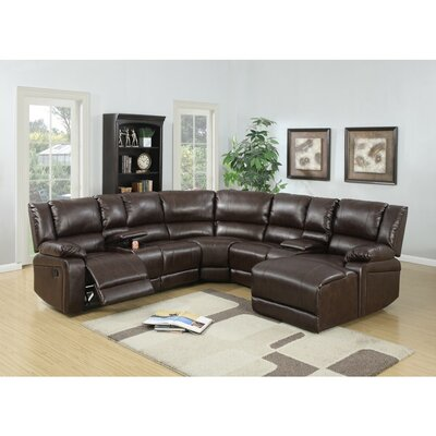 Chaim Bonded Reclining Sectional Upholstery: Brown