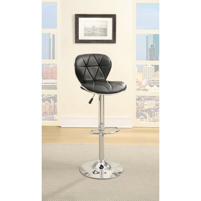 Chambless Gas Lift Leather Upholstered Adjustable Height Swivel Bar Stool