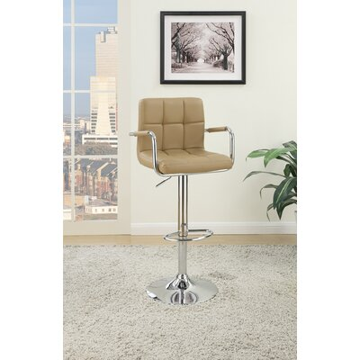 Chamness Gas Lift Arm Adjustable Height Bar Stool Color: Brown