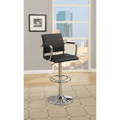 Lupo Gas Lift Faux Leather Adjustable Height Bar Stool Color: Black