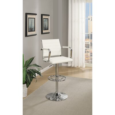 Lupo Gas Lift Faux Leather Adjustable Height Bar Stool Color: White