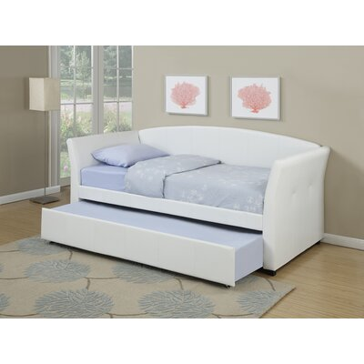 Resendez Faux Leather Daybed with Trundle Color: White