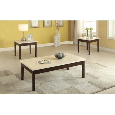 Denico Wooden 3 Piece Coffee Table Set with Faux Marble Top