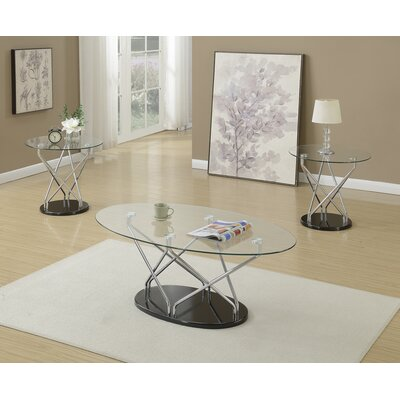 Choi 3 Piece Coffee Table Set with Glass Top