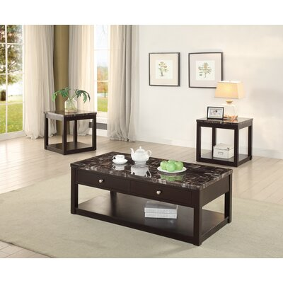 Cannella 3 Coffee Table Set with Marble Top and Drawers