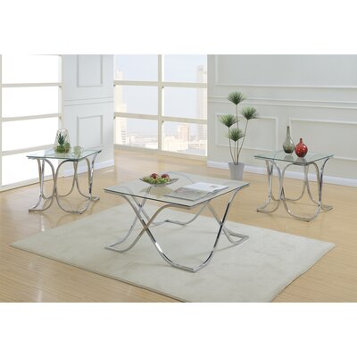 Shriver Glass Top 3 Piece Coffee Table Set