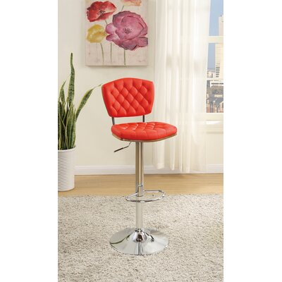 Luro Tufted Seat and Back Adjustable Height Bar Stool Color: Brown