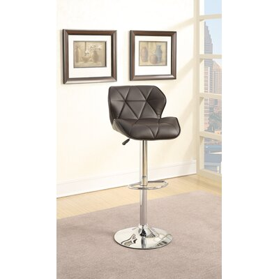 Champlost Tufted Leather Adjustable Height Bar Stool Color: Brown