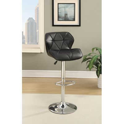 Champlost Tufted Leather Adjustable Height Bar Stool Color: Black