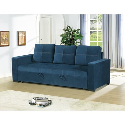 Lusher Polyfiber Fabric Convertible Sofa Upholstery: Blue