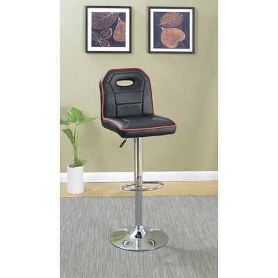 Charboneau Polyurethane Adjustable Height Swivel Bar Stool Color: Black