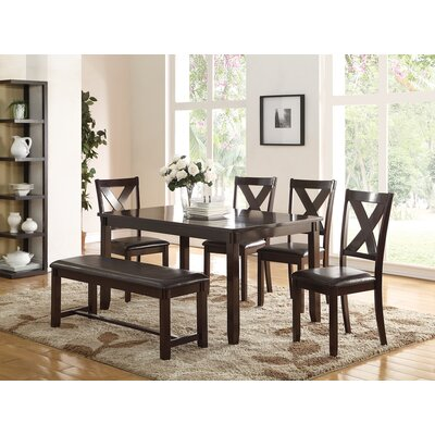 Seten Rubberwood 6 Piece Dining Set Color: Espresso