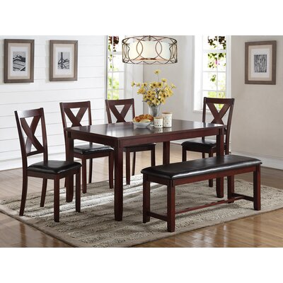 Seten Rubberwood 6 Piece Dining Set Color: Cherry