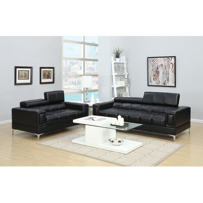 Lydon 2 Piece Foldable Headrests Sectional Set Upholstery: Black