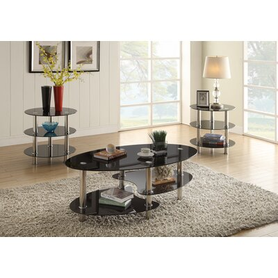 Macdougal Tinted Glass 3 Tier 3 Piece Coffee Table Set