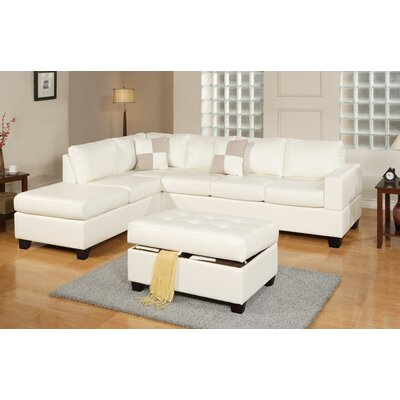 Lyke 3 Piece Sectional Set with Ottoman Upholstery: White