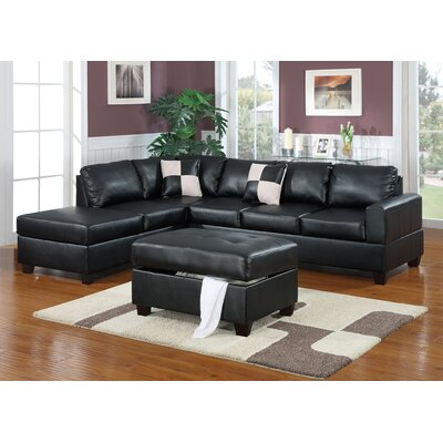 Lyke 3 Piece Sectional Set with Ottoman Upholstery: Black