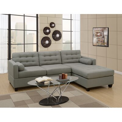 Hammontree Polyfiber Linen Fabric Sectional Upholstery: Gray