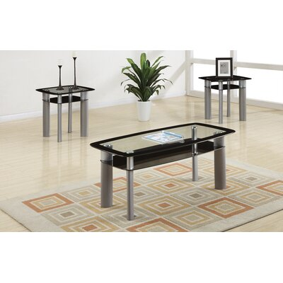 Cerda 3 Piece Coffee Table Set with Glass Top