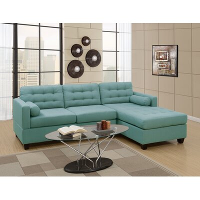 Hammontree Polyfiber Linen Fabric Sectional Upholstery: Blue