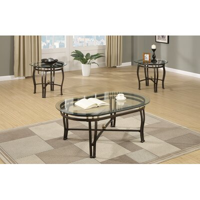 Conary Oval Glass Top 3 Piece Coffee Table Set