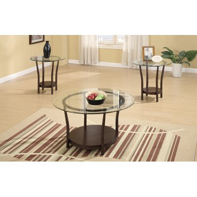 Holub Vintage 3 Piece Coffee Table Set With Glass Top