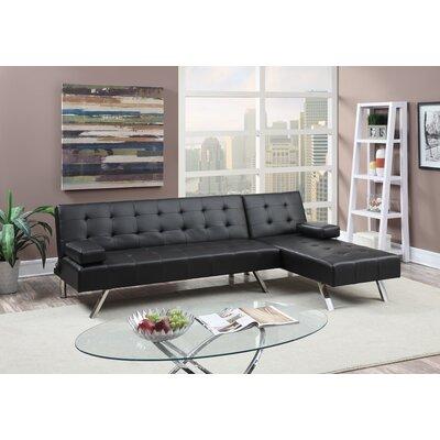 Lympsham Adjustable Convertible Sofa Upholstery: Black