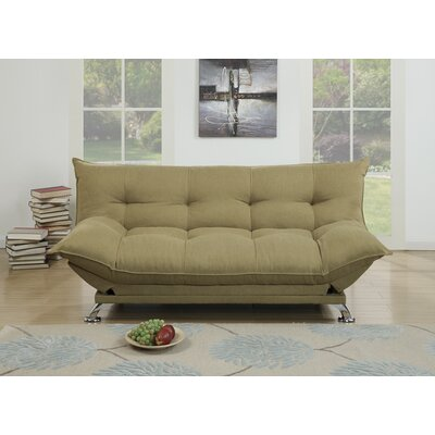 Maas Velvet Fabric Cushion Adjustable Convertible Sofa Upholstery: Brown
