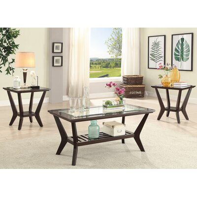 Choe Wood Glass 3 Piece Coffee Table Set