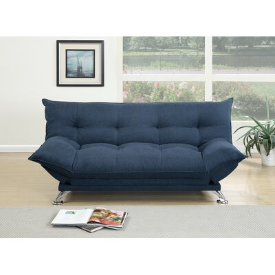 Maas Velvet Fabric Cushion Adjustable Convertible Sofa Upholstery: Blue