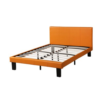 Mabe Leather Upholstered Full Bed Frame with Slats Size: 36 H x 80 W x 56 D, Color: Orange