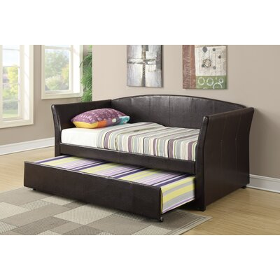 Resendez Faux Leather Daybed with Trundle Color: Dark Brown