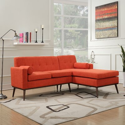 Charlcombe Mid Century Modern Modular Sectional Sofa Upholstery: Muted Orange