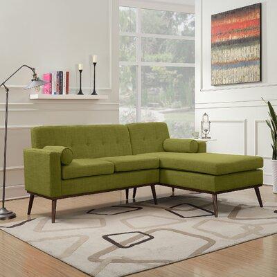 Charlcombe Mid Century Modern Modular Sectional Sofa Upholstery: Green