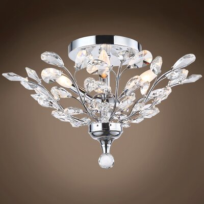 Meghans 4-Light Flush Mount Bulb Type: LED, Crystal Color: Clear, Crystal Grade: European