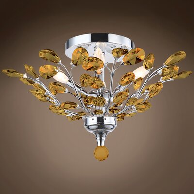 Meghans 4-Light Flush Mount Bulb Type: No Bulbs, Crystal Color: Amber, Crystal Grade: European