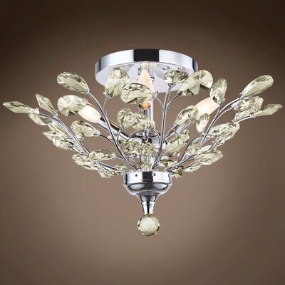 Meghans 4-Light Flush Mount Bulb Type: LED, Crystal Color: Golden Teak, Crystal Grade: European